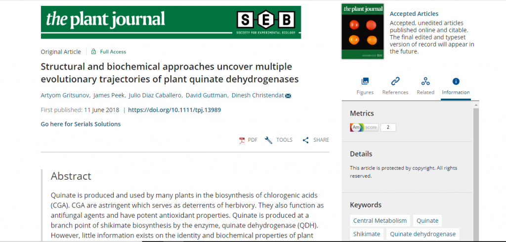 Our latest publication on plant quinate dehydrogenases